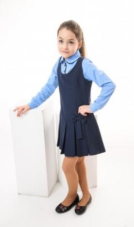 Uniformă școlară tip sarafan bleumarin