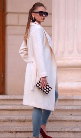 Palton de damă Dominique alb