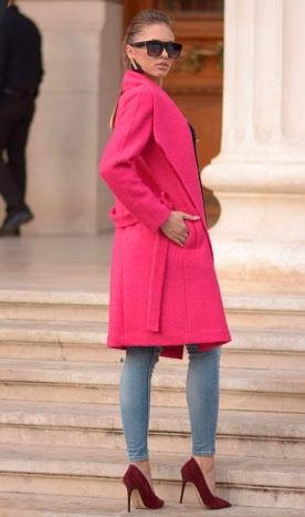 Palton de damă Dominique roz-indisponibil